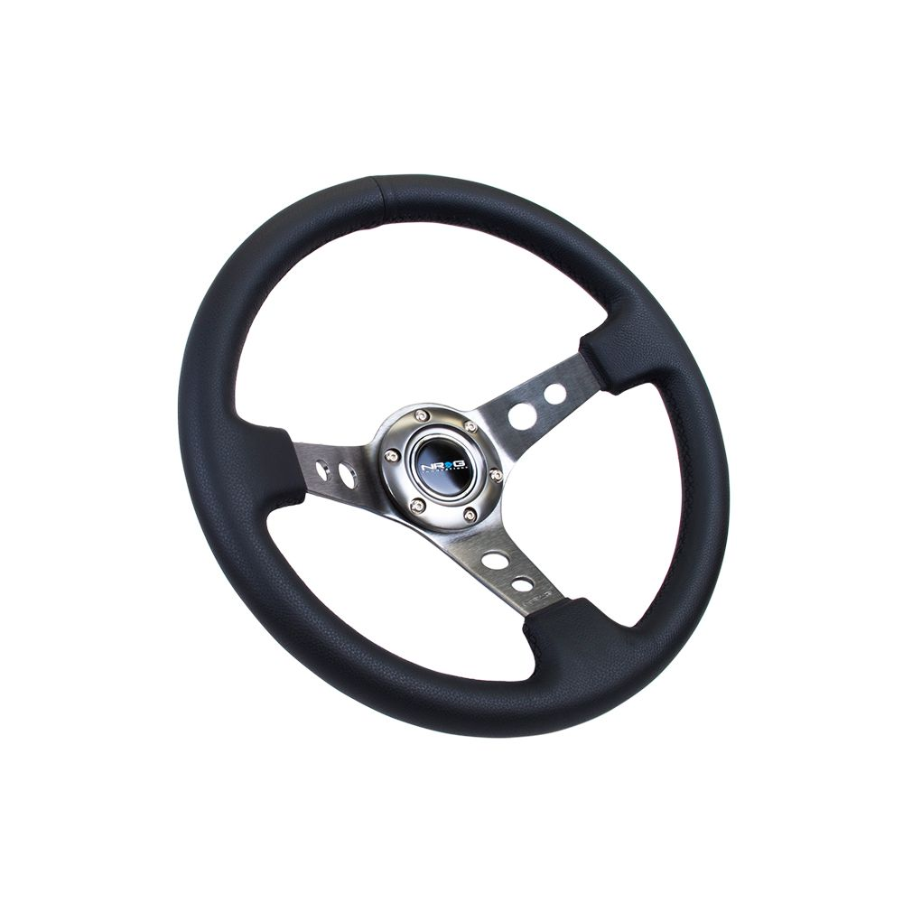 NRG ® - Sport Black Leather Steering Wheel 3 Inch Deep with Gun Metal Spokes (ST-006R-GM)