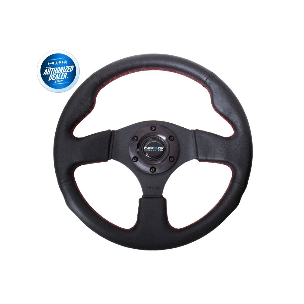 NRG ® - Sport Race Black Leather Steering Wheel with Red Stitching (RST-012R-RS)