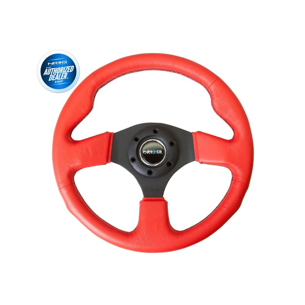 NRG ® - Sport Race Red Leather Steering Wheel with Black Stitching (ST-012RR-BS)