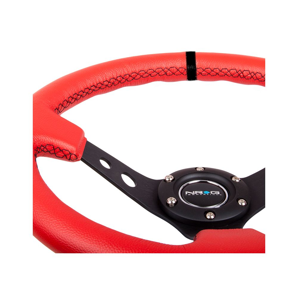 NRG ® - Sport Red Leather Steering Wheel 3 Inch Deep with Black Stitching and Marking (ST-006RR-BS-B)