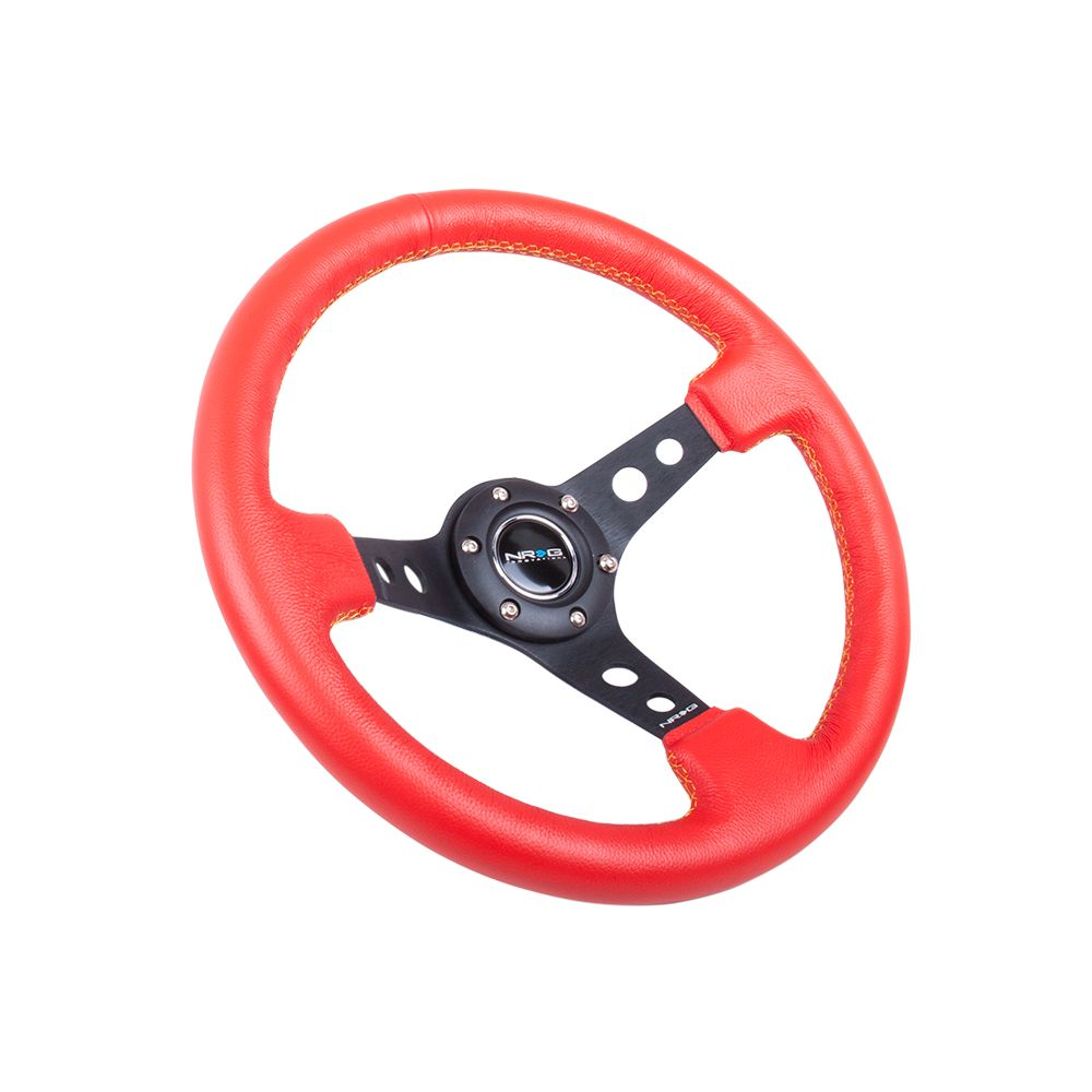 NRG ® - Sport Red Leather Steering Wheel 3 Inch Deep with Yellow Stitching (ST-006RR-YS)