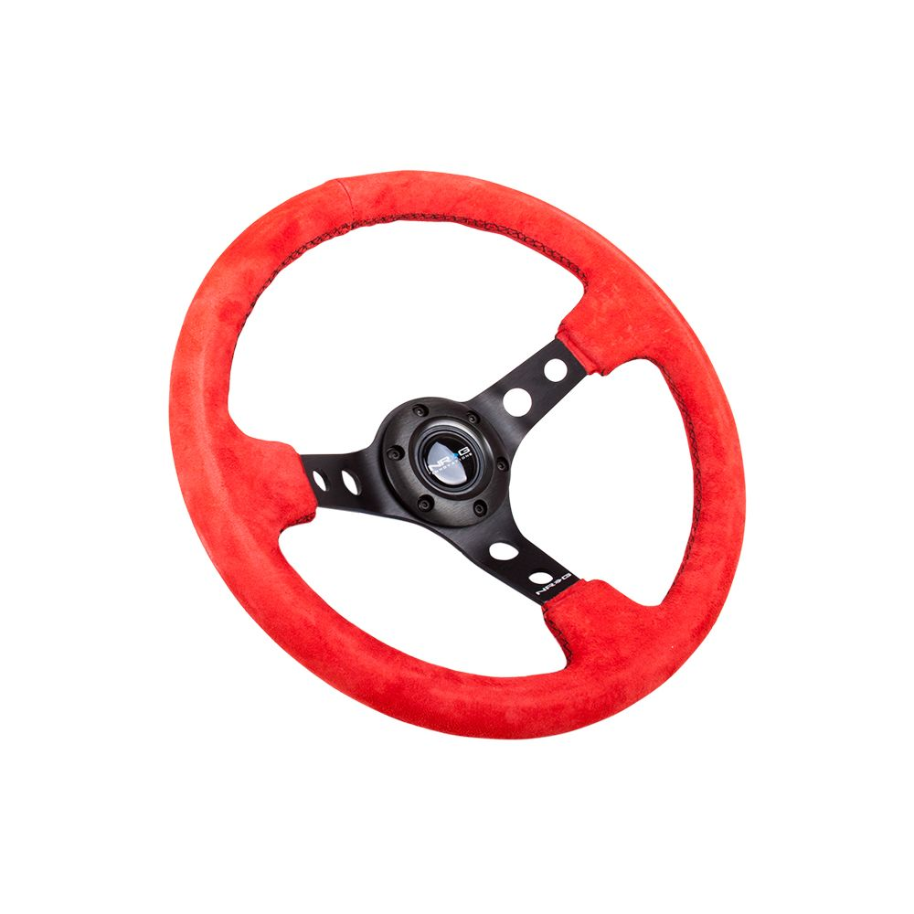 NRG ® - Sport Red Suede Steering Wheel 3 Inch Deep with Black Spokes (ST-006S-RR)