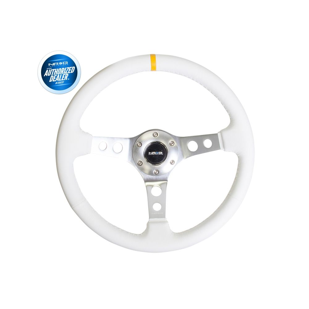 NRG ® - Sport White Leather Steering Wheel 2 Inch Deep with Aluminum Spokes and Yellow Marking (ST-006WT-Y)