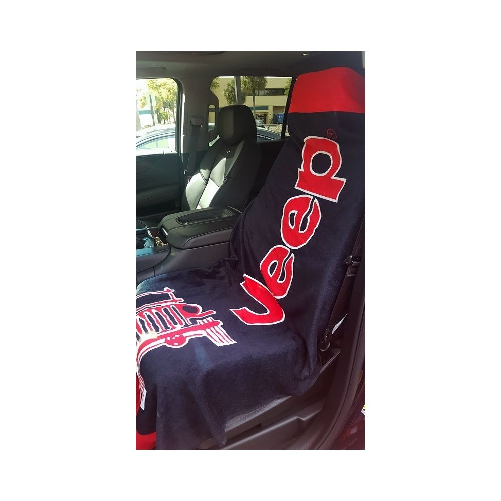 Seat Armour ® - Black And Red Towel 2 GO Seat Cover with Jeep Wrangler Logo (T2G100BLK)
