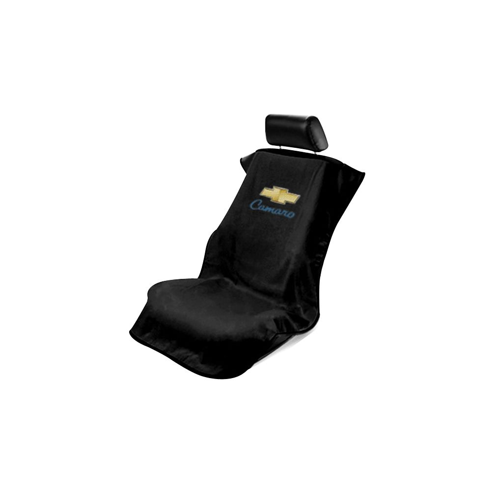 Seat Armour ® - Black Towel Seat Cover with Chevy Camaro Logo (SA100CAMB)