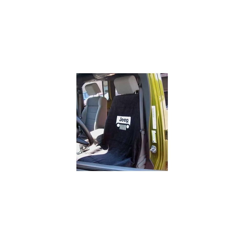 Seat Armour ® - Black Towel Seat Cover with Jeep with Grille Logo (SA100JEPGB)