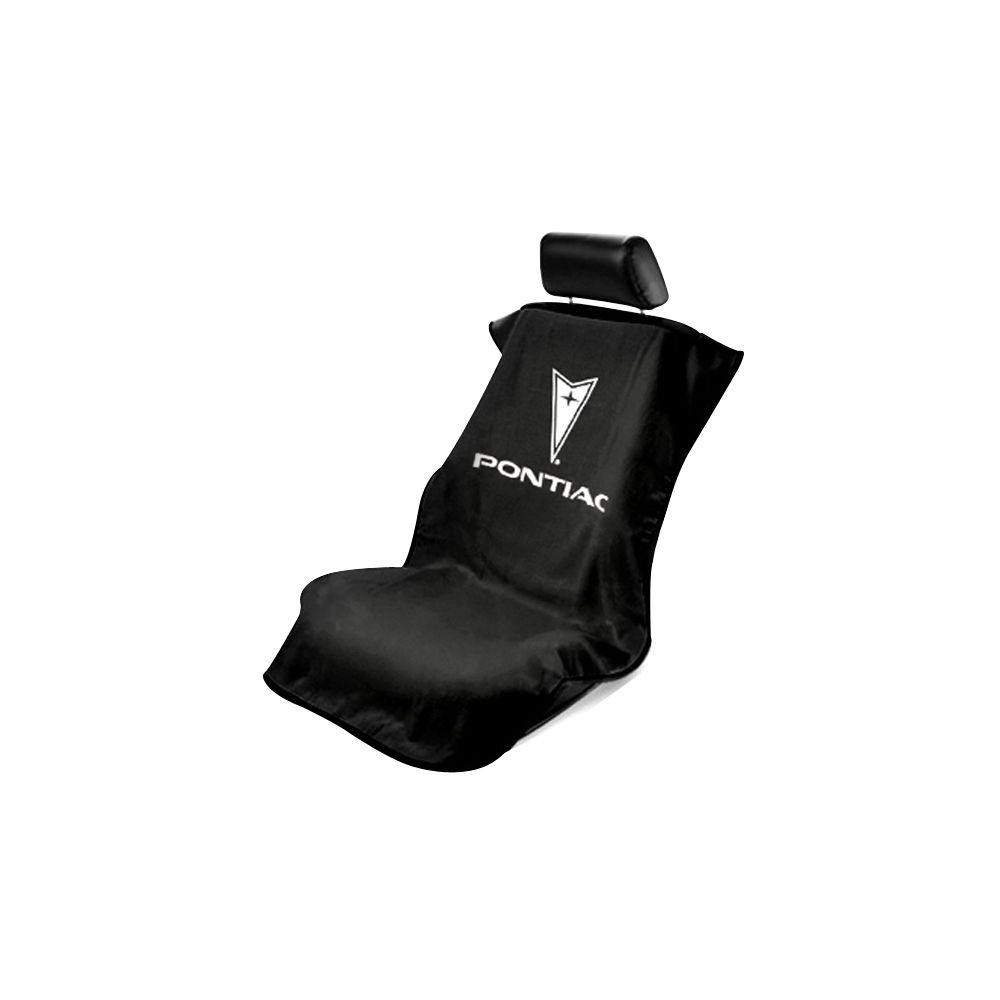 Seat Armour ® - Black Towel Seat Cover with Pontiac Logo (SA100PTCBE)