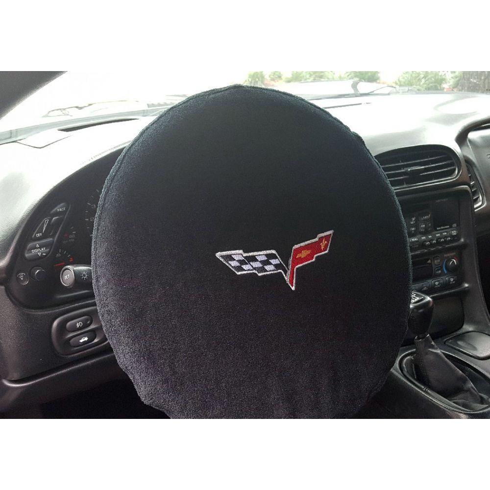 Black 5PC Towel Protectors For Corvette C6 -Seats Console Trunk & Steering Wheel