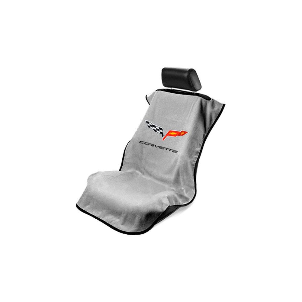 Seat Armour ® - Grey Towel Seat Cover with Corvette C6 Logo (SA100COR6G)