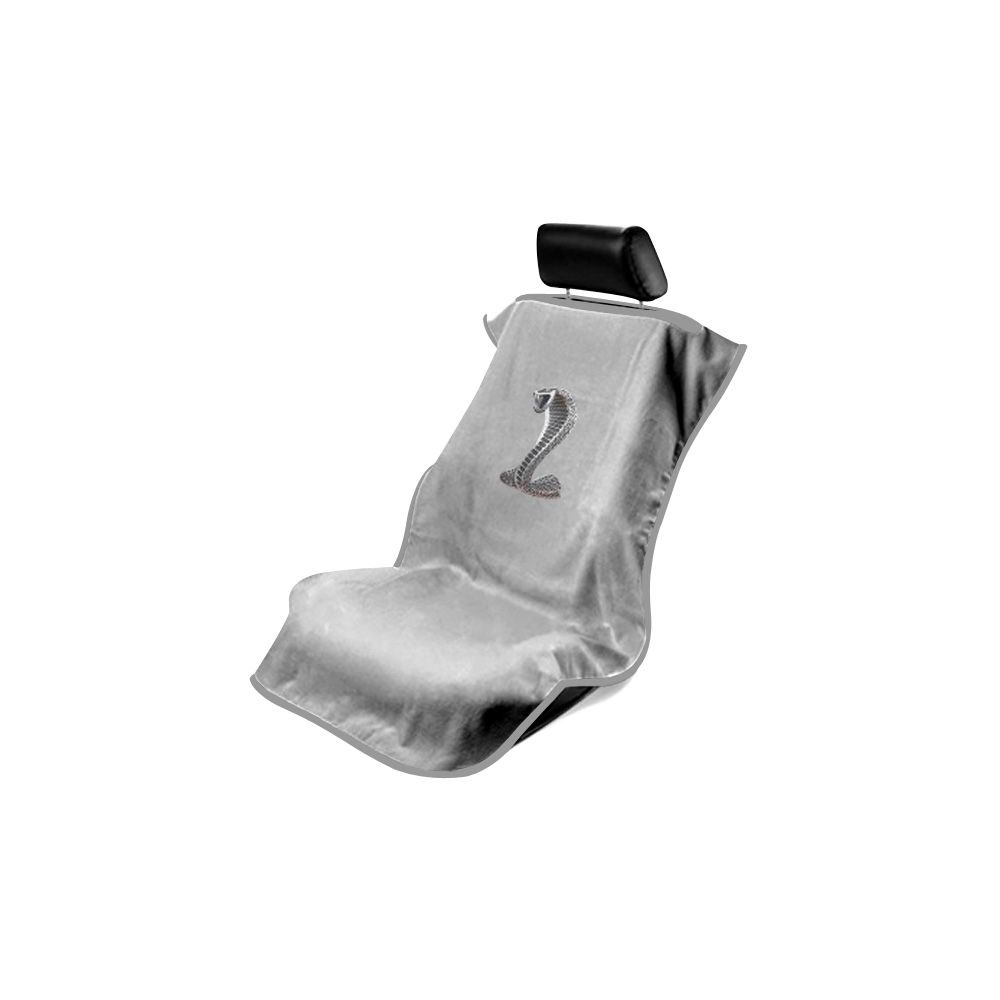 Seat Armour ® - Grey Towel Seat Cover with Mustang Cobra Logo (SA100COBG)