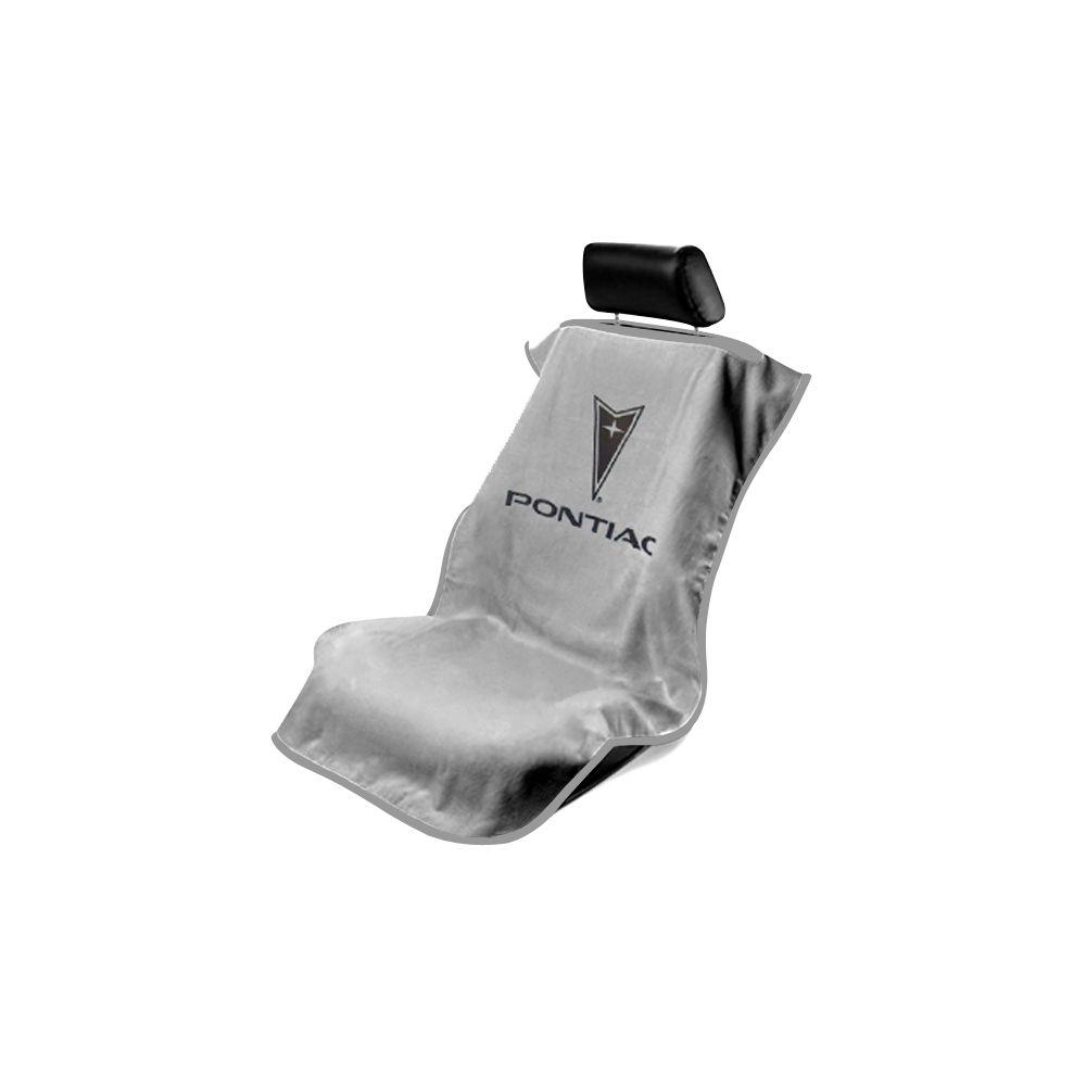 Seat Armour ® - Grey Towel Seat Cover with Pontiac Logo (SA100PTCGE)