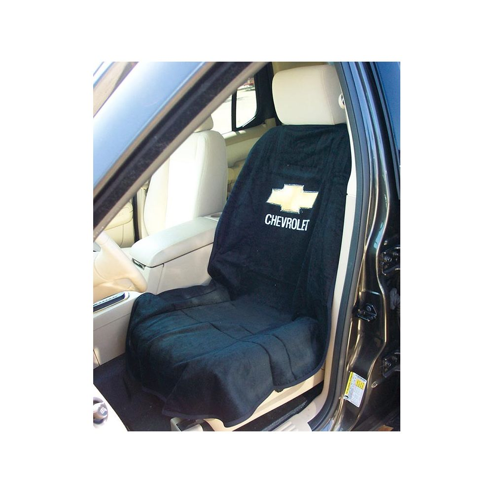 Seat Armour ® - Pair of Black Towel Seat Covers with Chevrolet Logo (SA100CHVB)