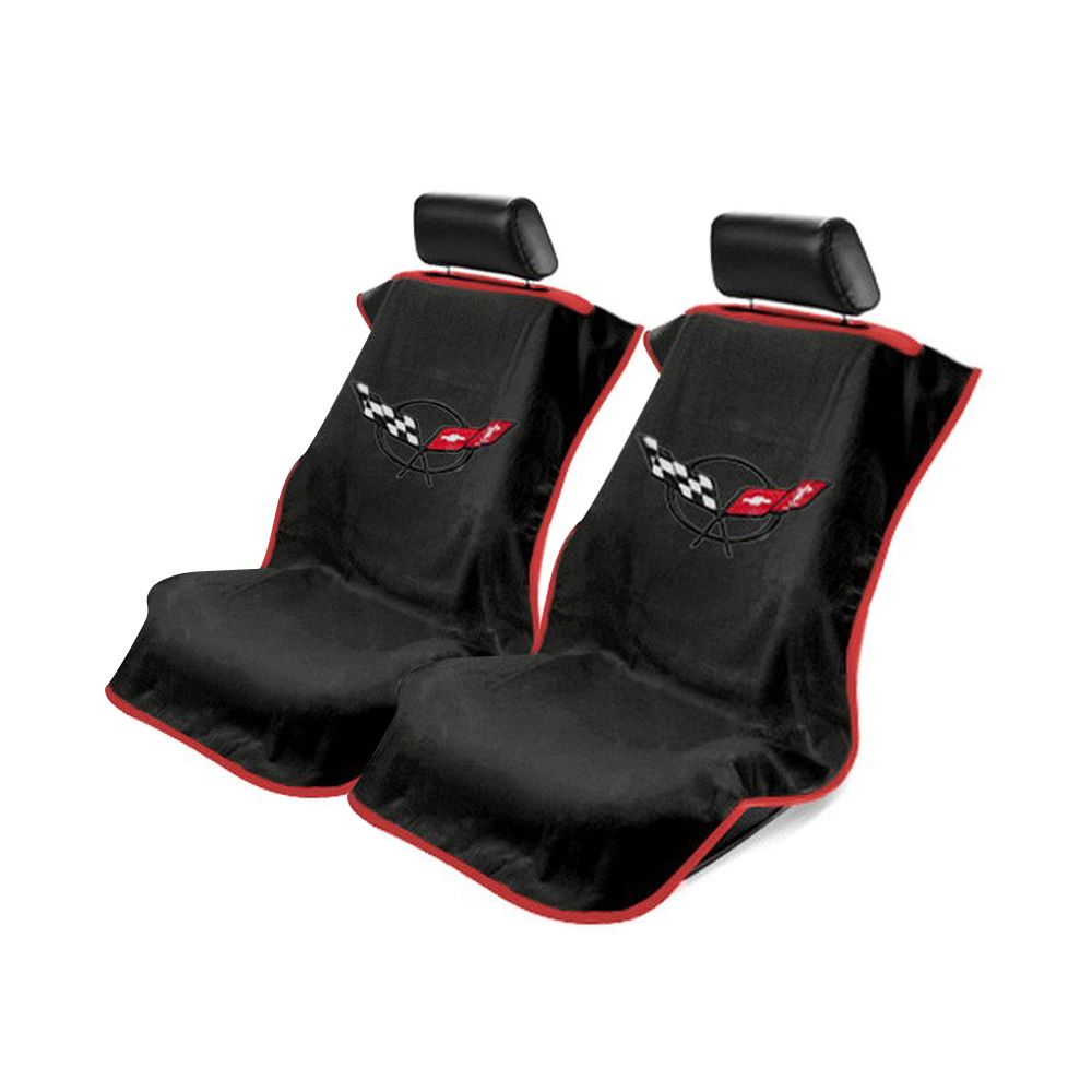 Seat Armour ® - Pair of Black Towel Seat Covers with Corvette C5 Logo (SA100COR5B)