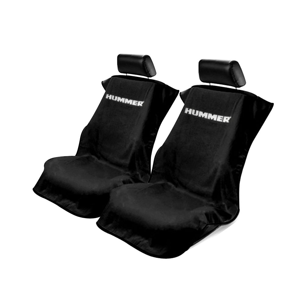 Seat Armour ® - Pair of Black Towel Seat Covers with Hummer Logo (SA100HUMB)