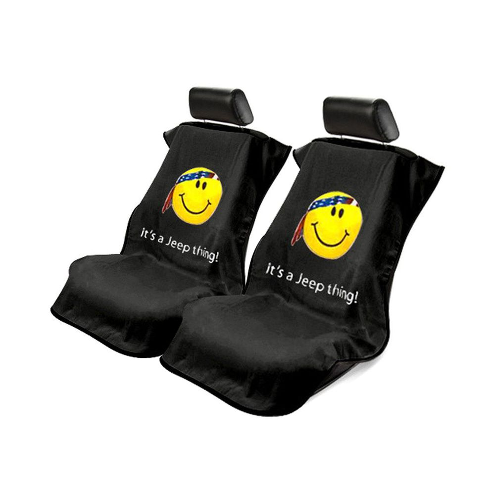 Seat Armour ® - Pair of Black Towel Seat Covers with Jeep Smiley Face Logo (SA100JEPSFB)