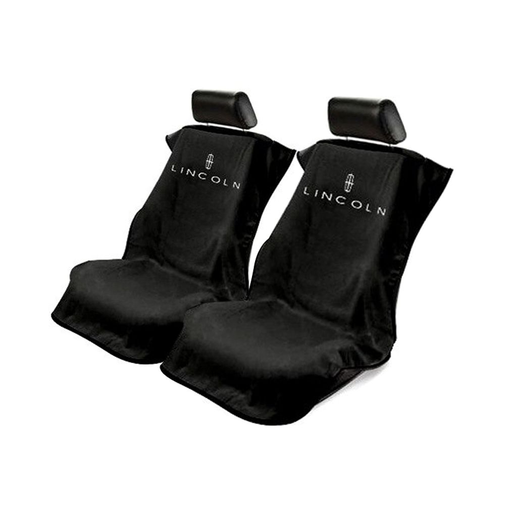 Seat Armour ® - Pair of Black Towel Seat Covers with Lincoln Logo (SA100LINB)