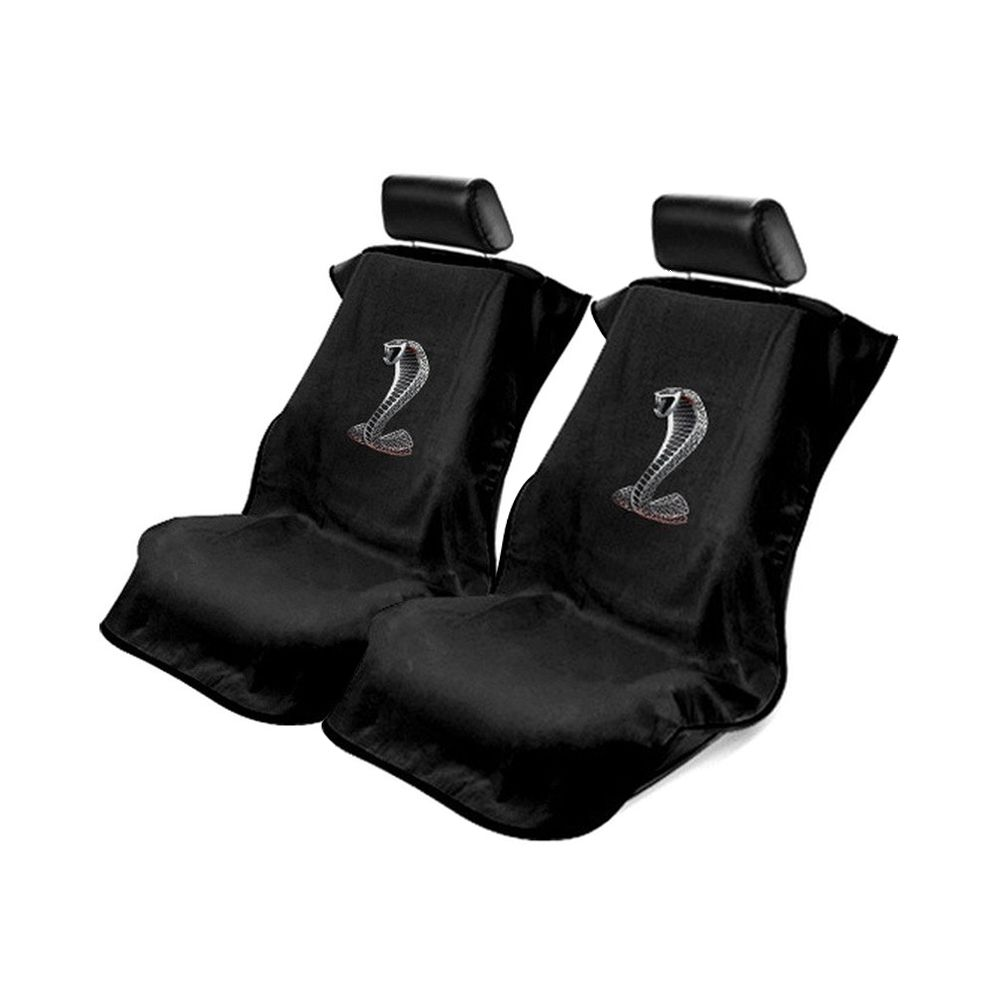Seat Armour ® - Pair of Black Towel Seat Covers with Mustang Cobra Logo (SA100COBB)