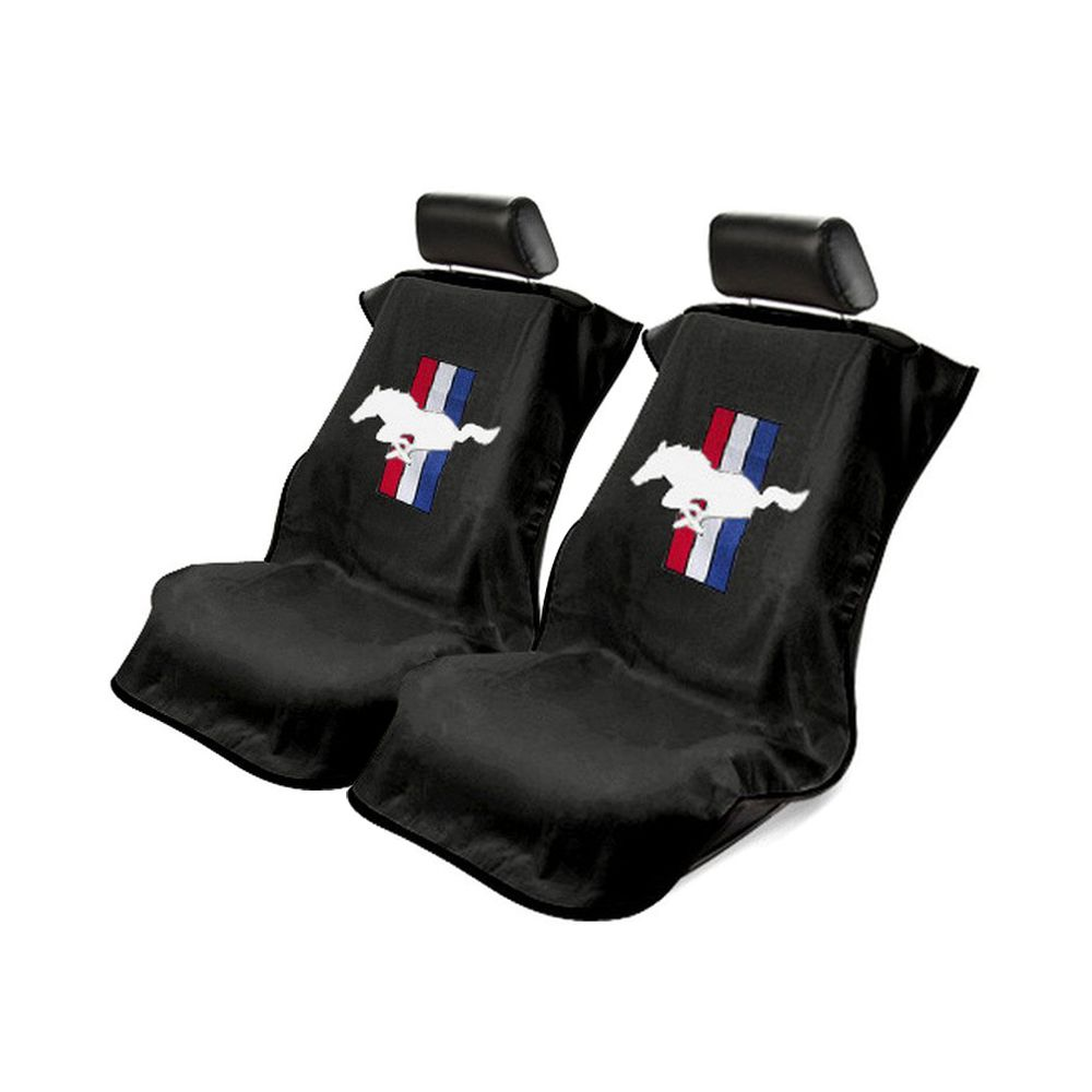 Seat Armour ® - Pair of Black Towel Seat Covers with Mustang Pony Logo (SA100MUSB)