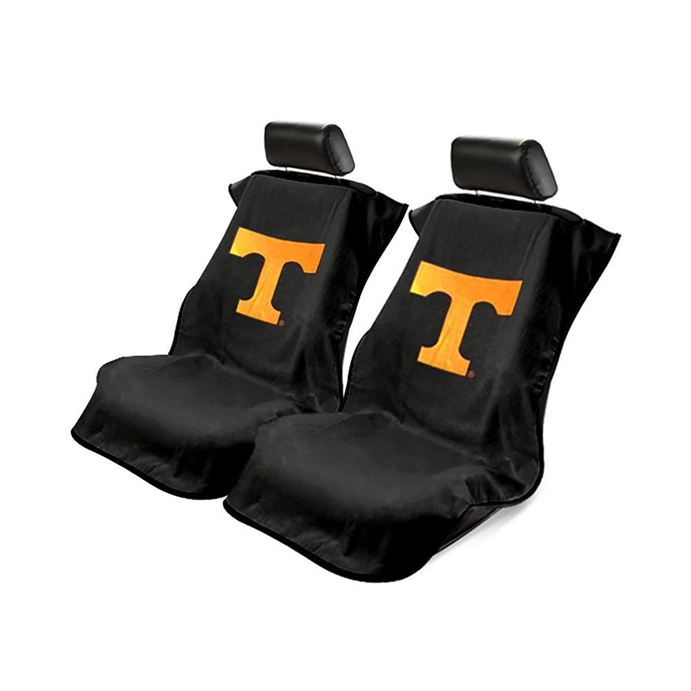 Seat Armour ® - Pair of Black Towel Seat Covers with NCAA Tennessee University Logo (SA100TENNSS)