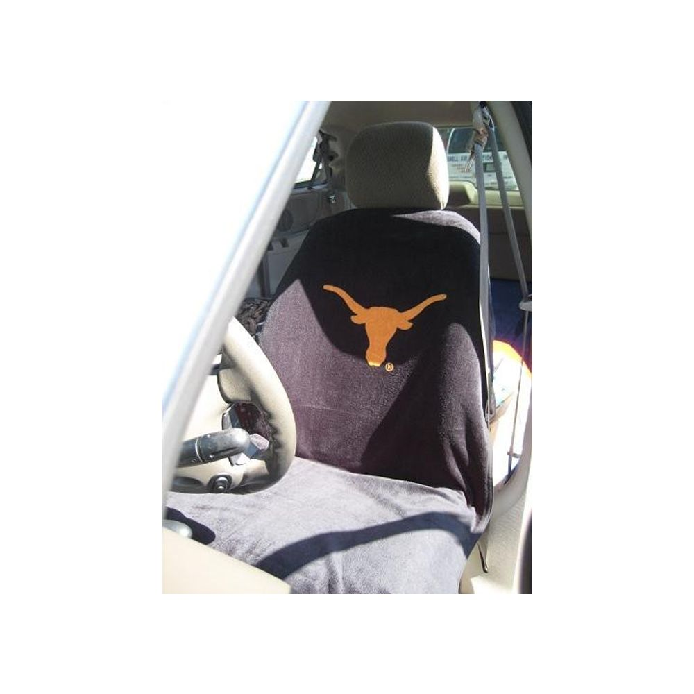 Seat Armour ® - Pair of Black Towel Seat Covers with Texas Univ. Longhorns Logo (SA100LONGH)