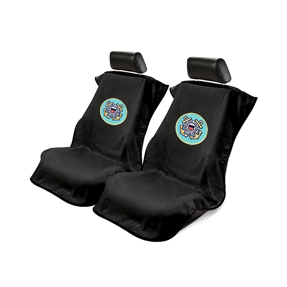 Seat Armour ® - Pair of Black Towel Seat Covers with US Coast Guard Logo (SA200USCOG)