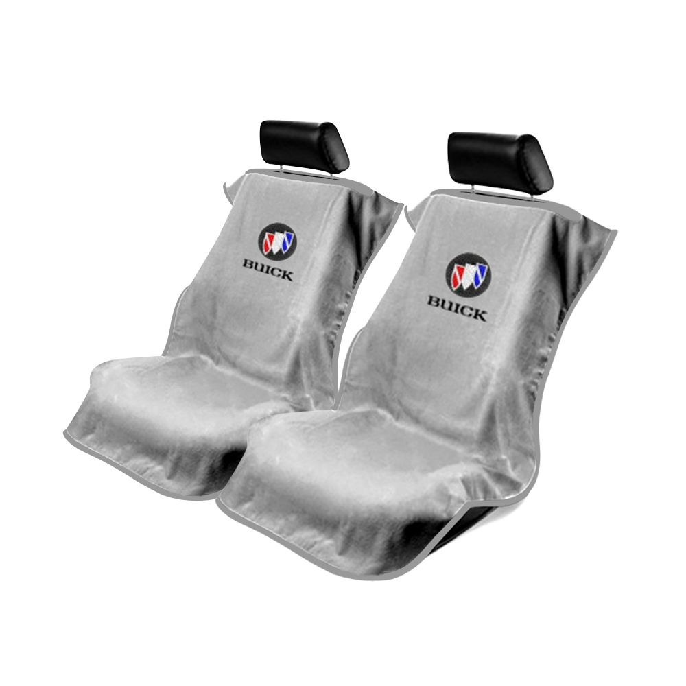 Seat Armour ® - Pair of Grey Towel Seat Covers with Buick Logo (SA100BCKG)