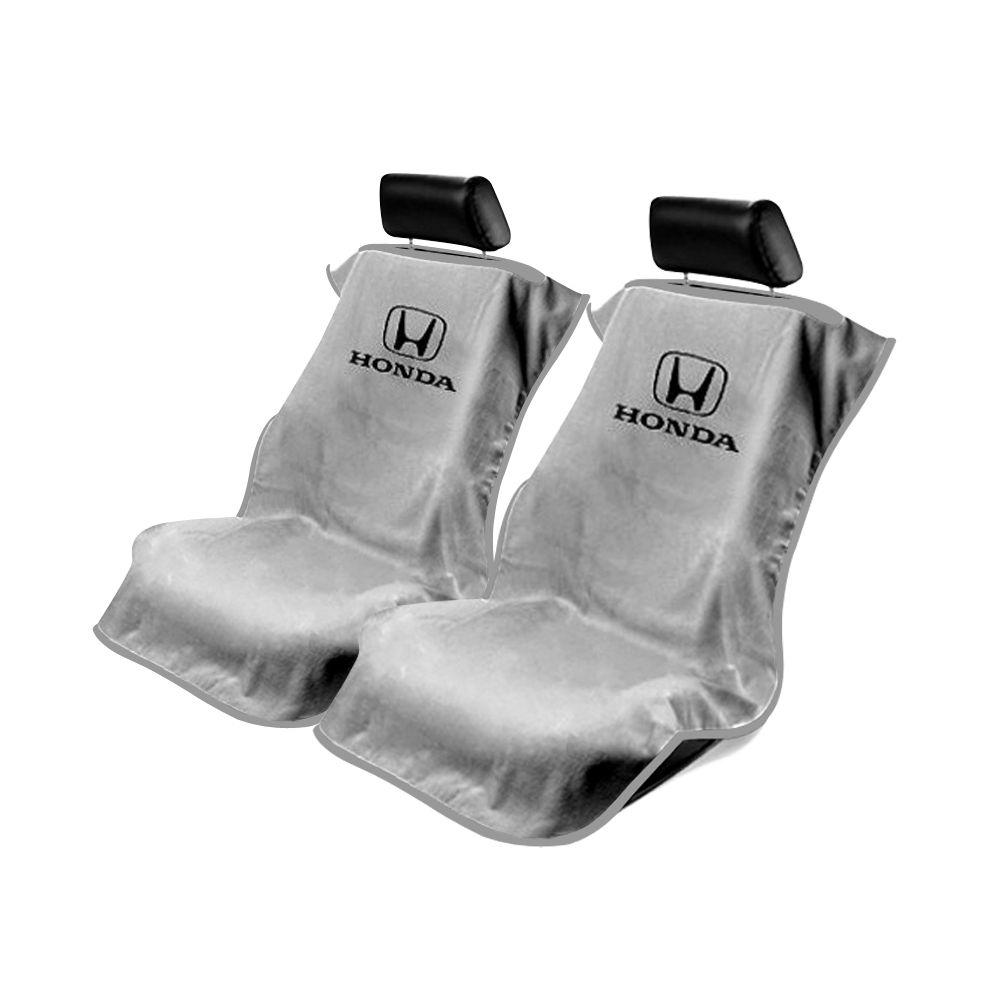 Seat Armour ® - Pair of Grey Towel Seat Covers with Honda Logo (SA100HONG)