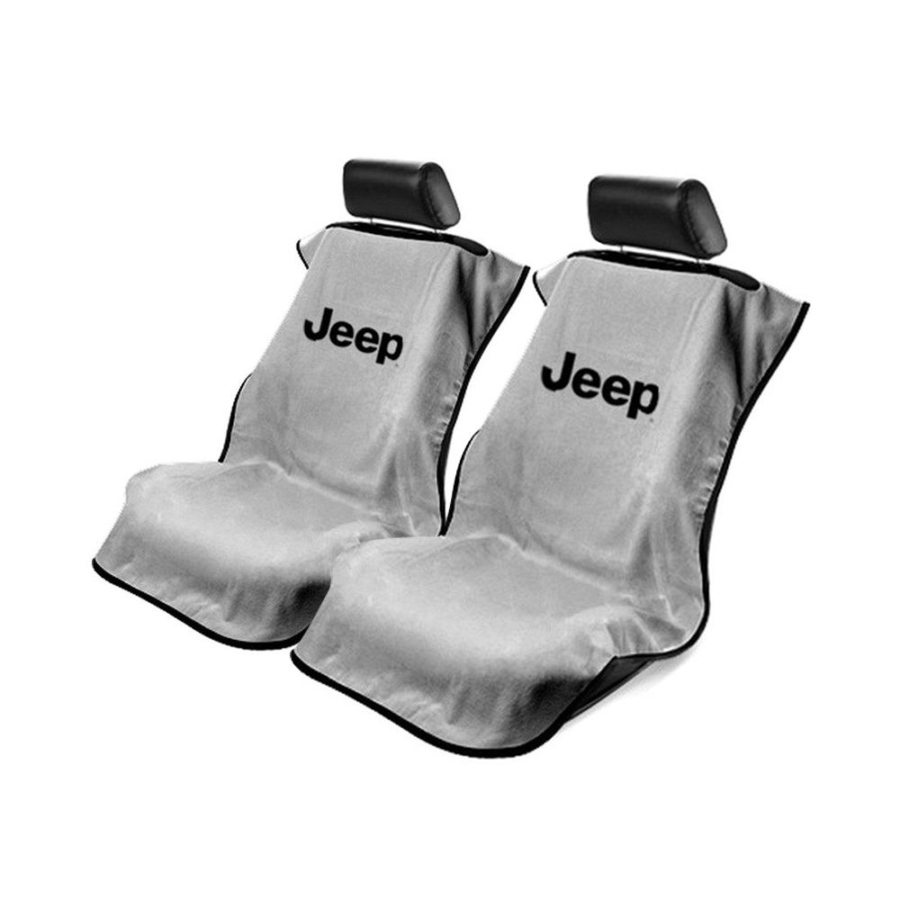 Seat Armour ® - Pair of Grey Towel Seat Covers with Jeep Letters Logo (SA100JEPG)