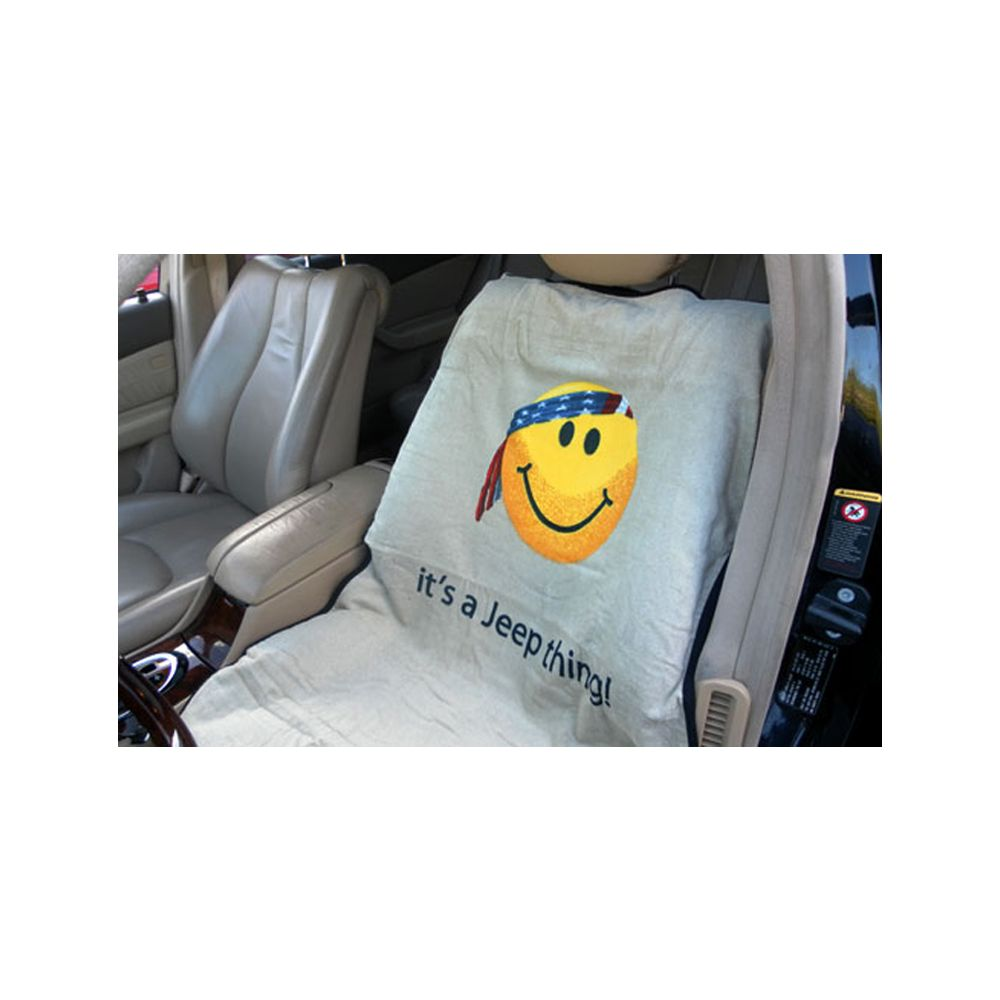 Seat Armour ® - Pair of Grey Towel Seat Covers with Jeep Smiley Face Logo (SA100JEPSFG)