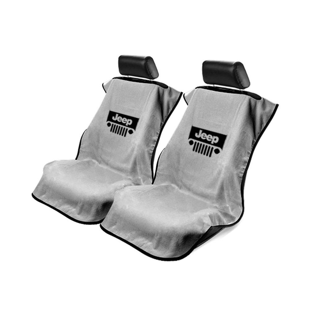 Seat Armour ® - Pair of Grey Towel Seat Covers with Jeep with Grille Logo (SA100JEPGG)