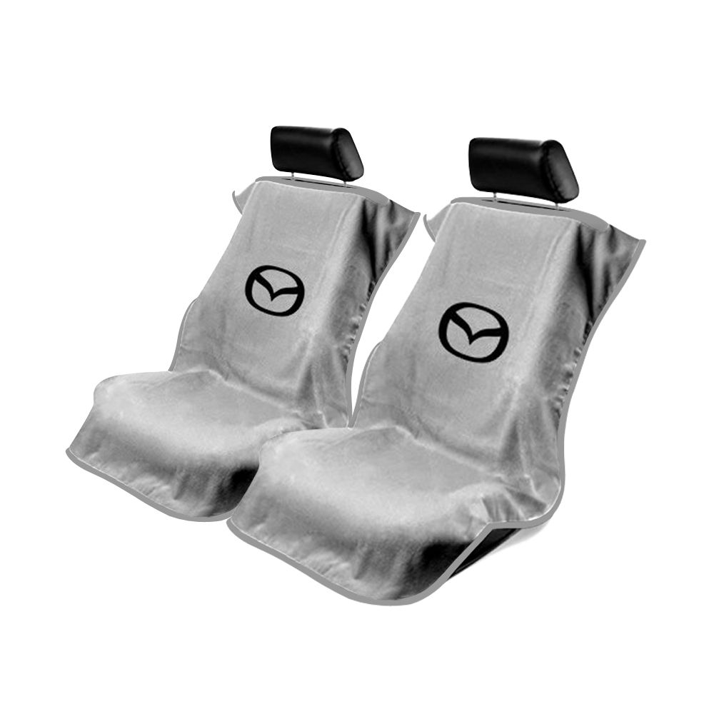 Seat Armour ® - Pair of Grey Towel Seat Covers with Mazda Logo (SA100MZDG)