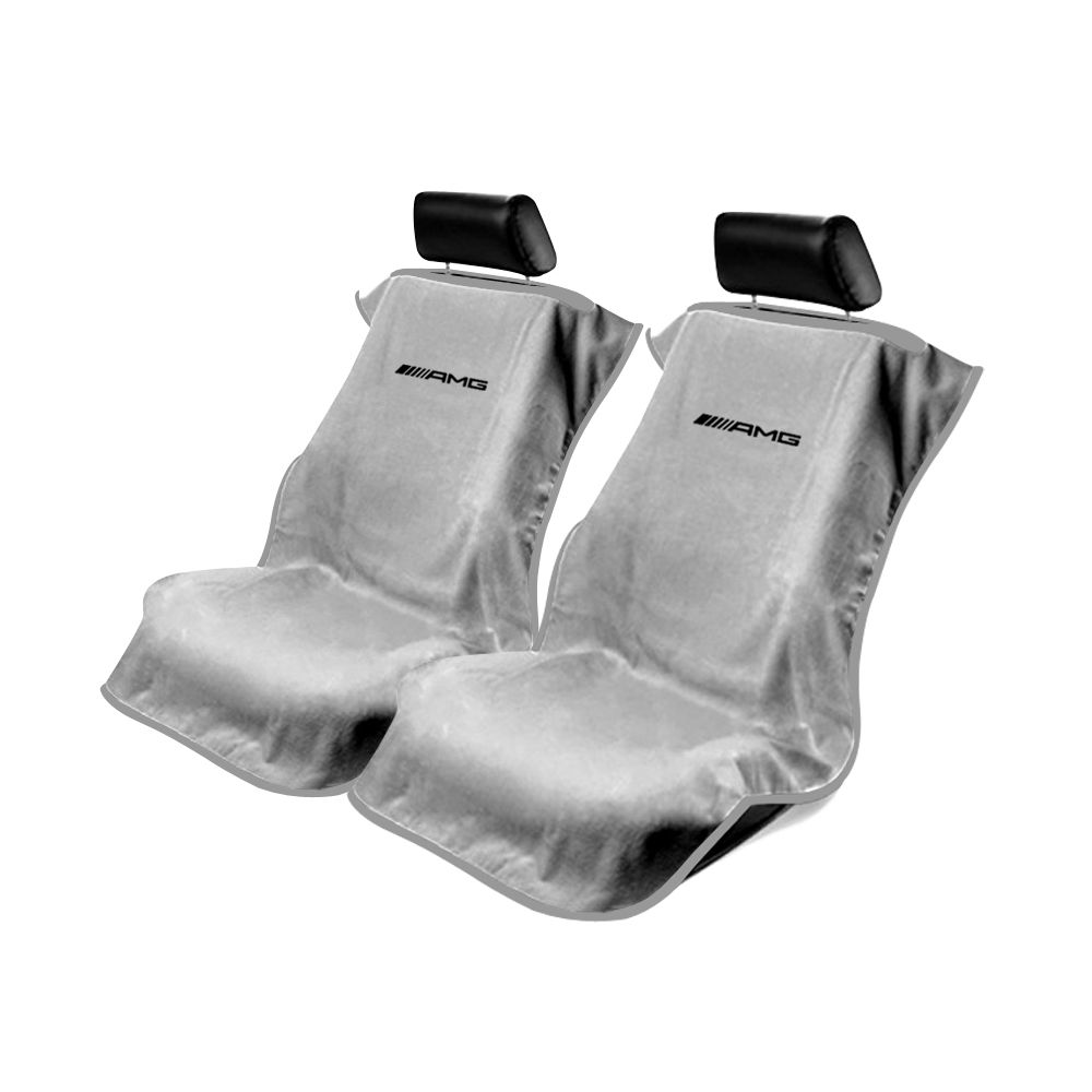 Seat Armour ® - Pair of Grey Towel Seat Covers with Mercedes-Benz AMG Logo (SA100AMGG)