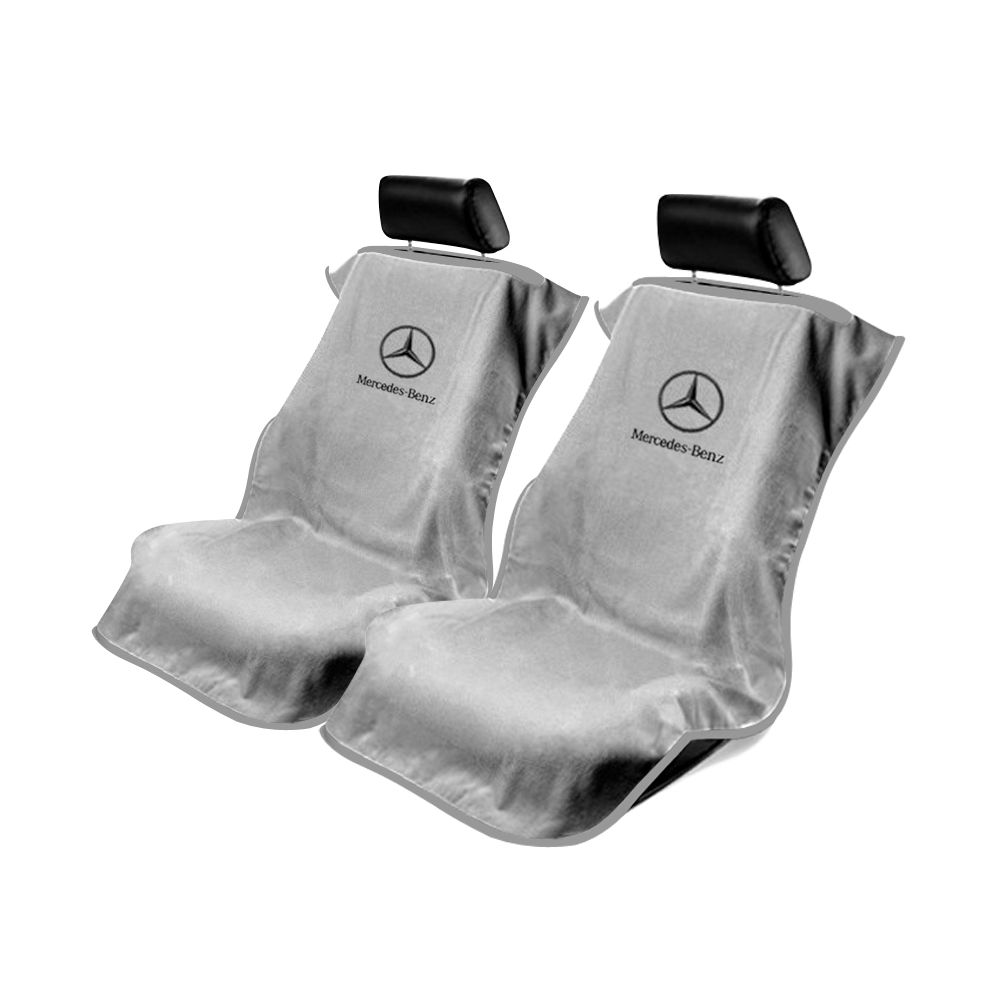 Seat Armour ® - Pair of Grey Towel Seat Covers with Mercedes Benz Logo (SA100MBZG)