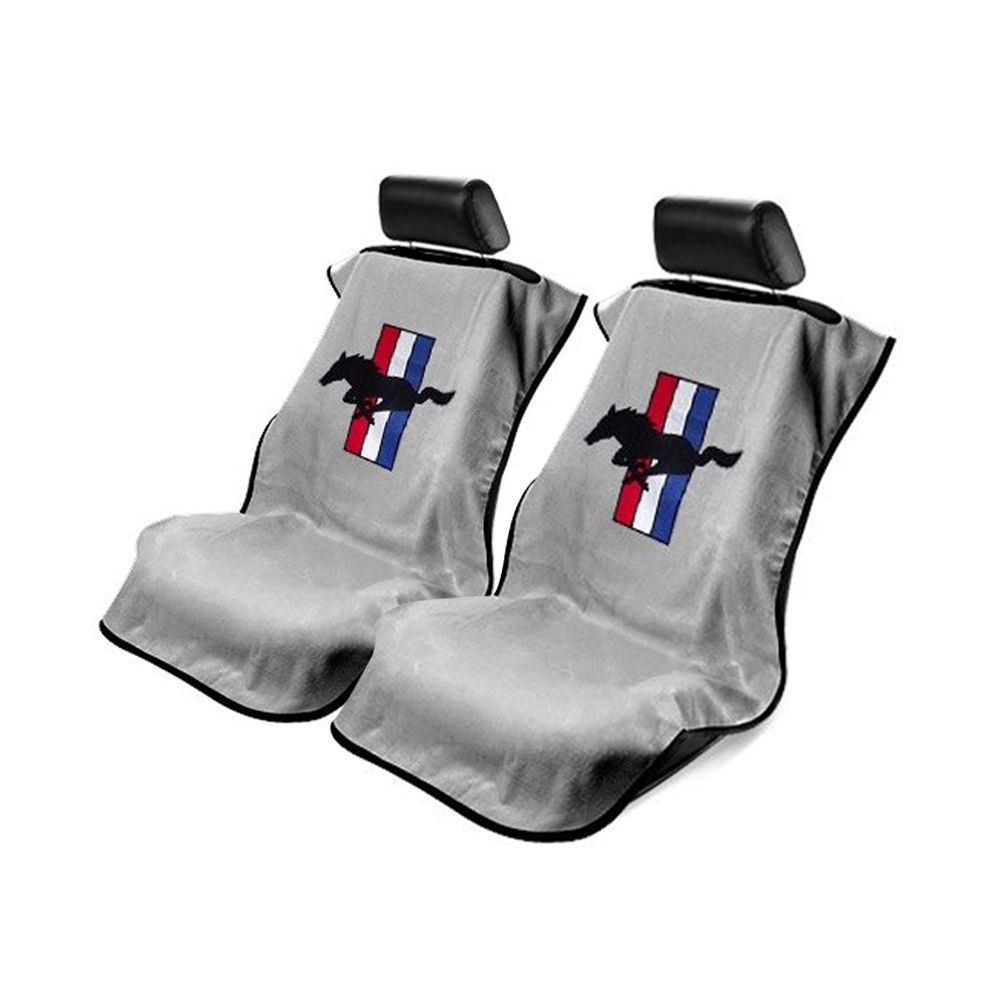 Seat Armour ® - Pair of Grey Towel Seat Covers with Mustang Pony Logo (SA100MUSG)