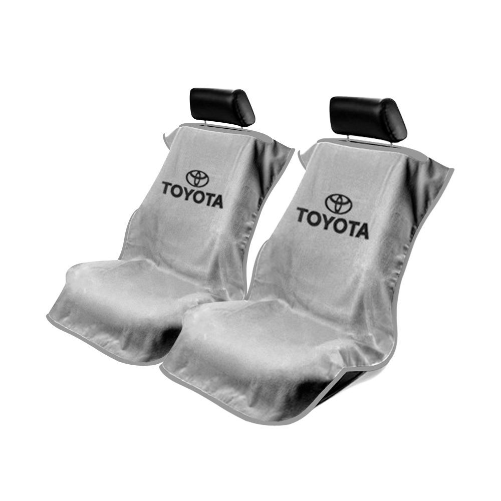 Seat Armour ® - Pair of Grey Towel Seat Covers with Toyota Logo (SA100TOYG)