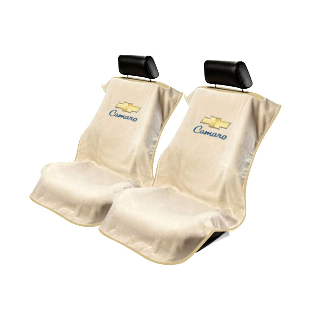 Seat Armour ® - Pair of Tan Towel Seat Covers with Chevy Camaro Logo (SA100CAMT)