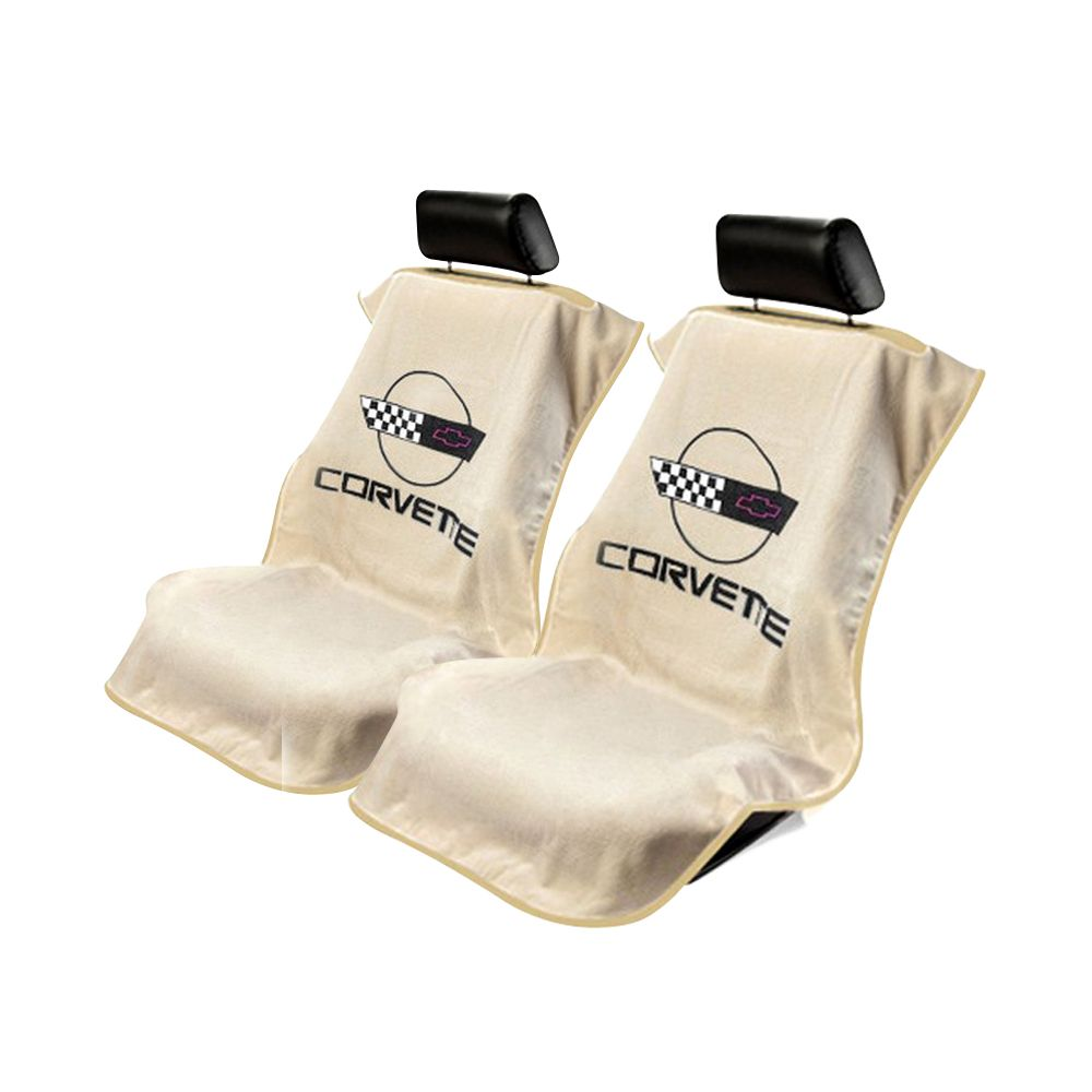 Seat Armour ® - Pair of Tan Towel Seat Covers with Corvette C4 Logo (SA100COR4T)