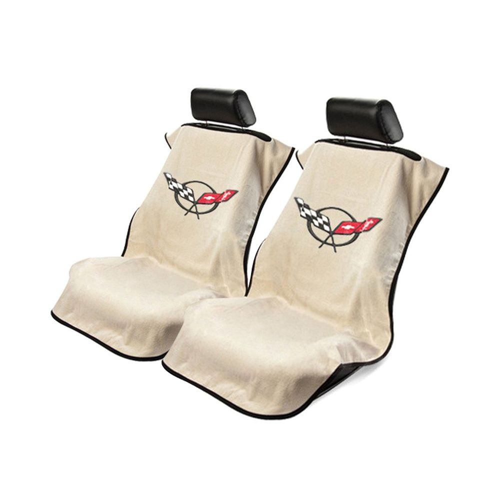 Seat Armour ® - Pair of Tan Towel Seat Covers with Corvette C5 Logo (SA100COR5T)