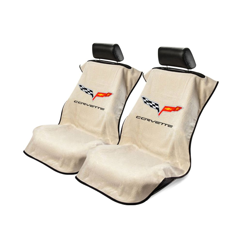 Seat Armour ® - Pair of Tan Towel Seat Covers with Corvette C6 Logo (SA100COR6T)