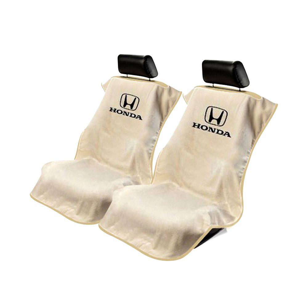 Seat Armour ® - Pair of Tan Towel Seat Covers with Honda Logo (SA100HONT)