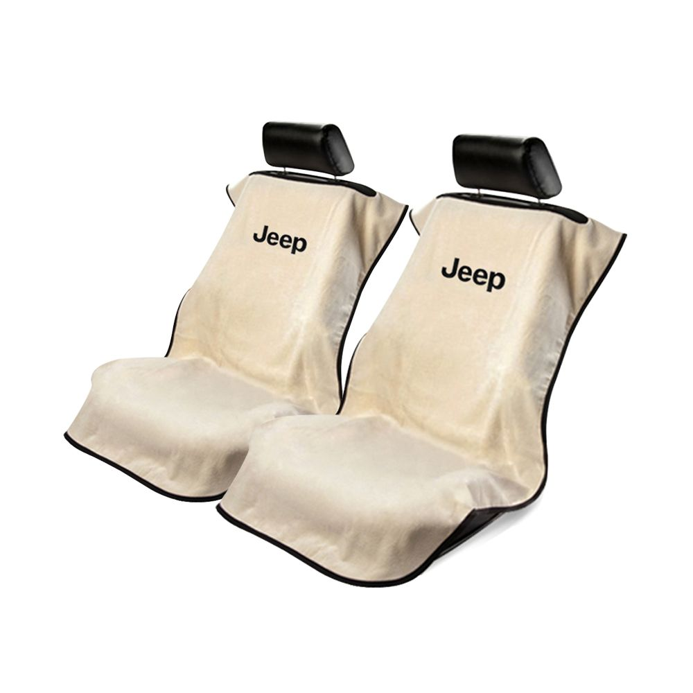 Seat Armour ® - Pair of Tan Towel Seat Covers with Jeep Letters Logo (SA100JEPT)