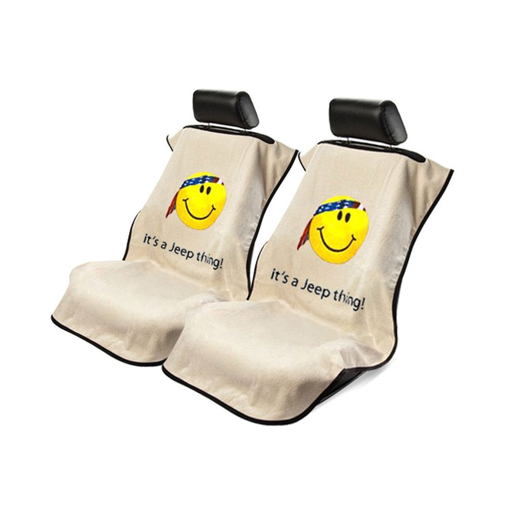 Seat Armour ® - Pair of Tan Towel Seat Covers with Jeep Smiley Face Logo (SA100JEPSFT)