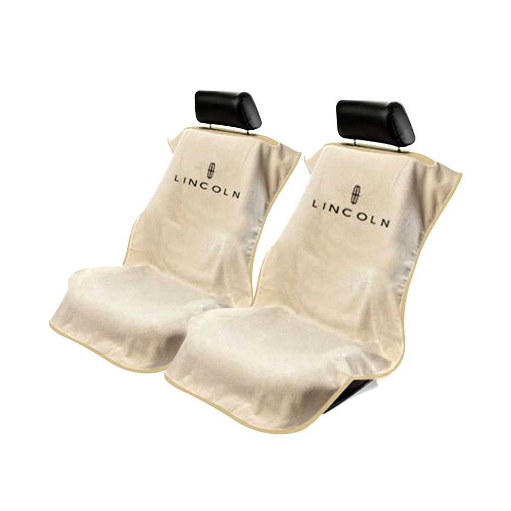 Seat Armour ® - Pair of Tan Towel Seat Covers with Lincoln Logo (SA100LINT)