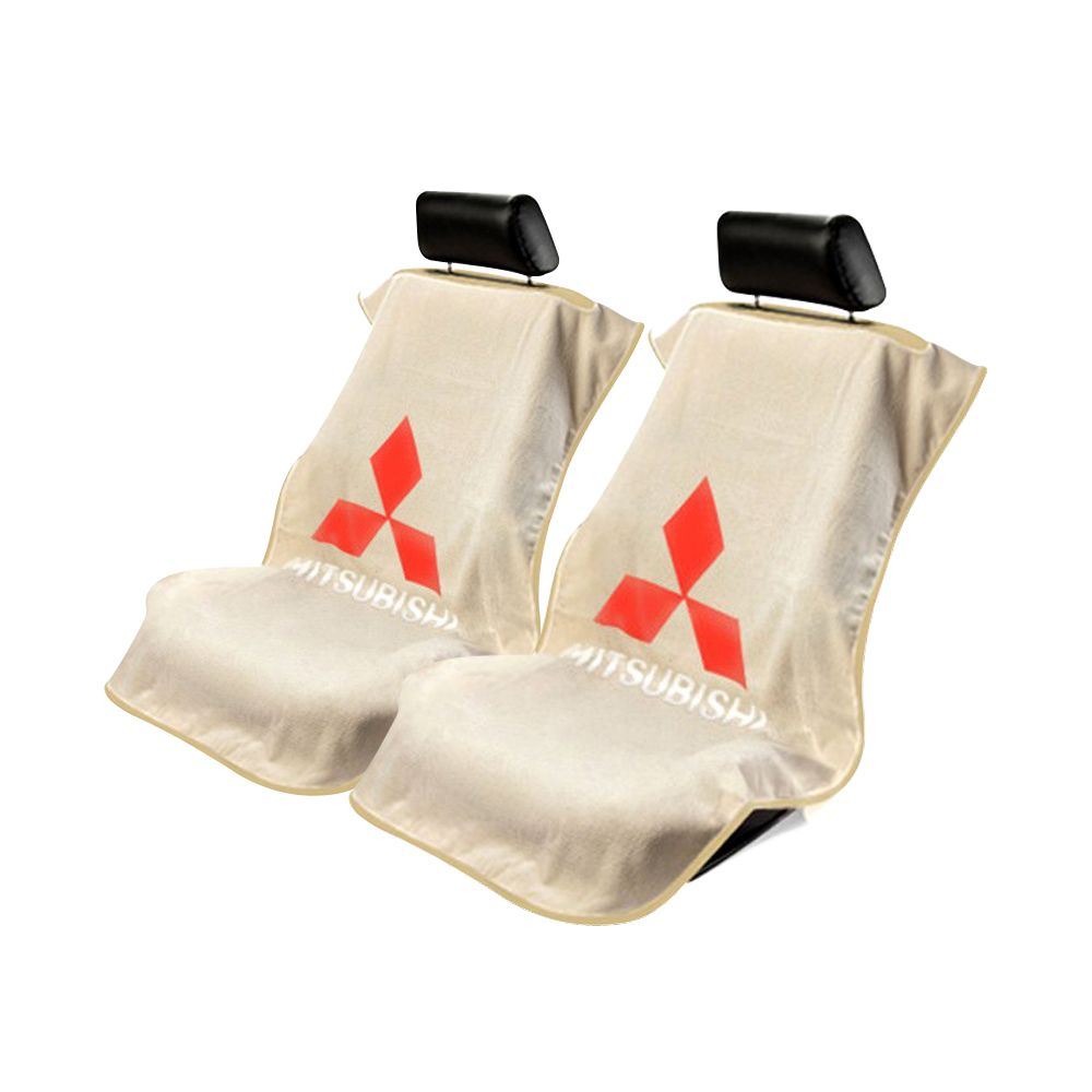 Seat Armour ® - Pair of Tan Towel Seat Covers with Mitsubishi Logo (SA100MITT)