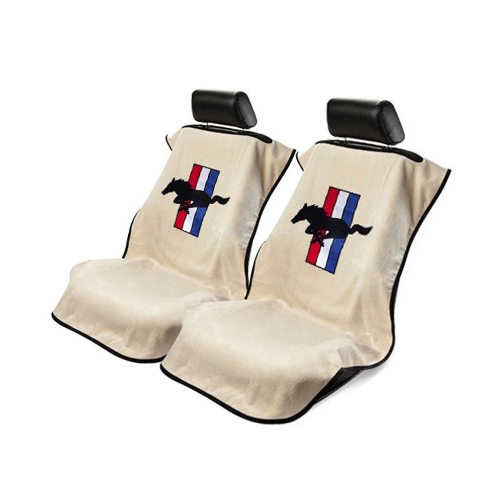 Seat Armour ® - Pair of Tan Towel Seat Covers with Mustang Pony Logo (SA100MUST)