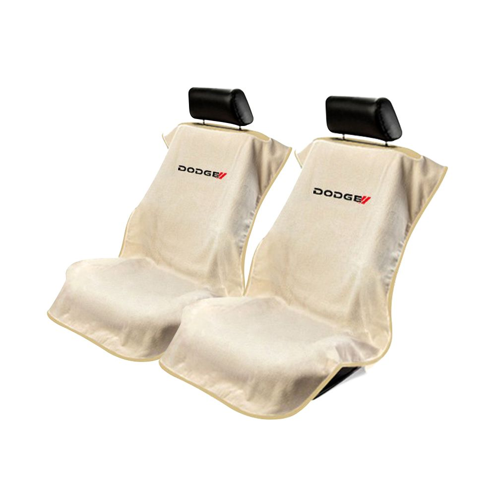 Seat Armour ® - Pair of Tan Towel Seat Covers with New Dodge Logo (SA100NDODT)