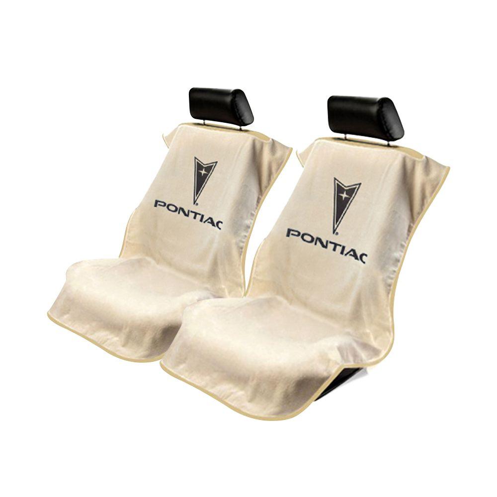Seat Armour ® - Pair of Tan Towel Seat Covers with Pontiac Logo (SA100PTCTE)