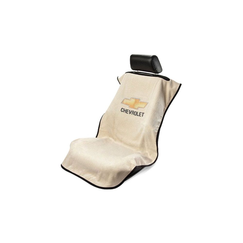 Seat Armour ® - Tan Towel Seat Cover with Chevrolet Logo (SA100CHVT)