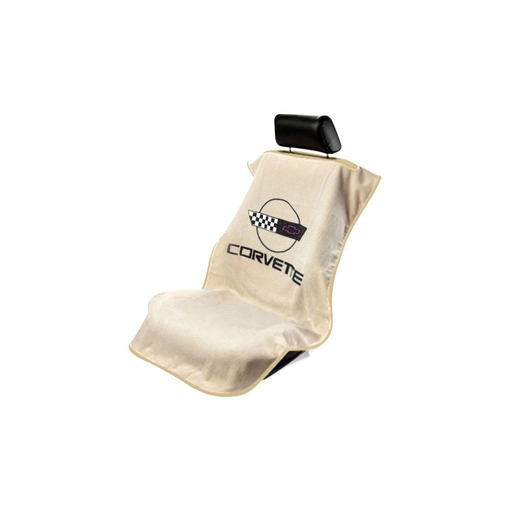 Seat Armour ® - Tan Towel Seat Cover with Corvette C4 Logo (SA100COR4T)