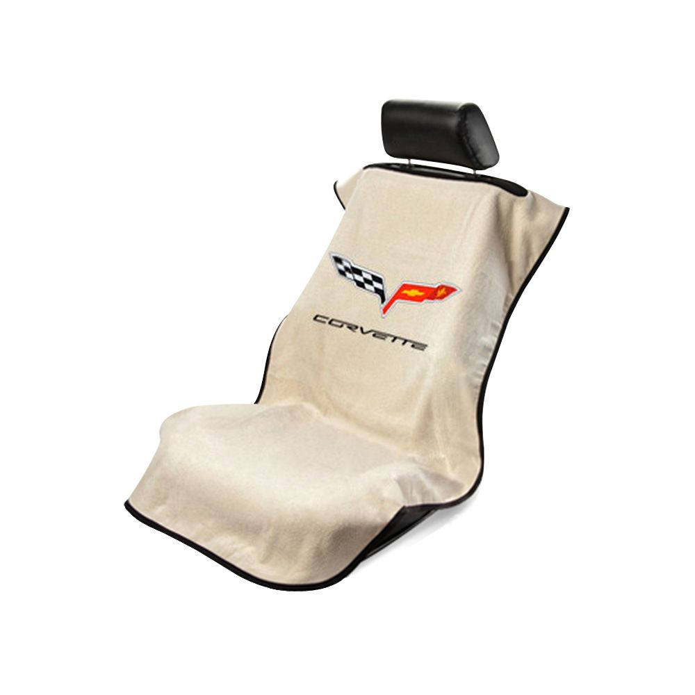 Seat Armour ® - Tan Towel Seat Cover with Corvette C6 Logo (SA100COR6T)